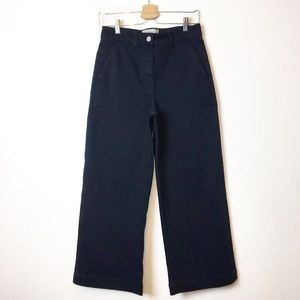 Everlane Blue High Rise Wide Leg Cropped Pants